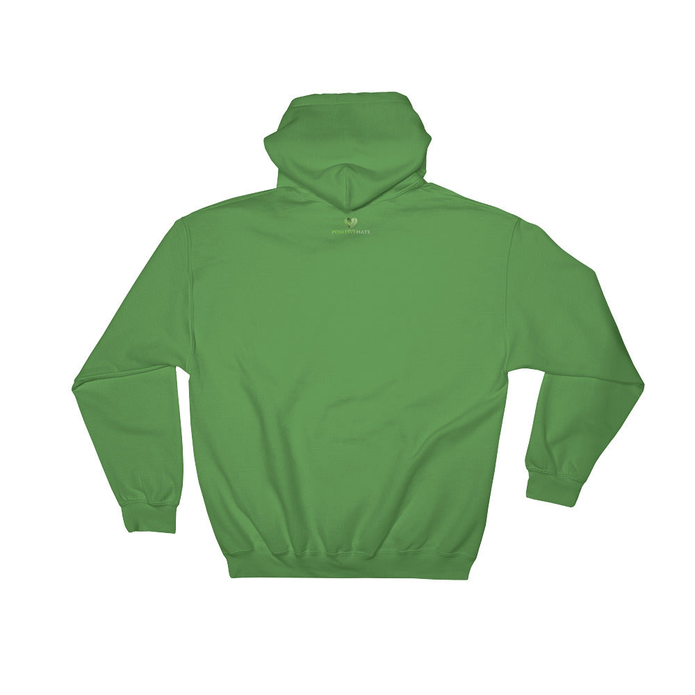 Positive Hate, Hate Bullying Green Heart Side - Hooded Sweatshirt