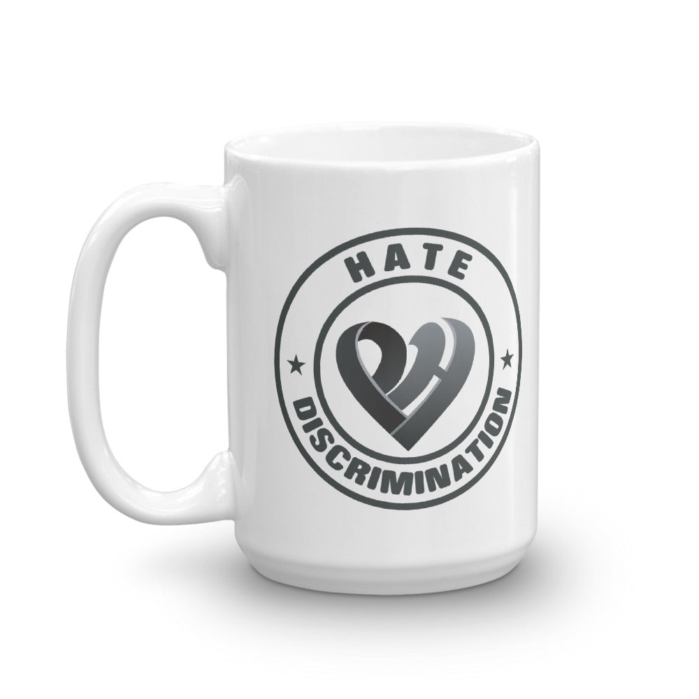 Positive Hate, Hate Discrimination Black Round - Glossy Mugs