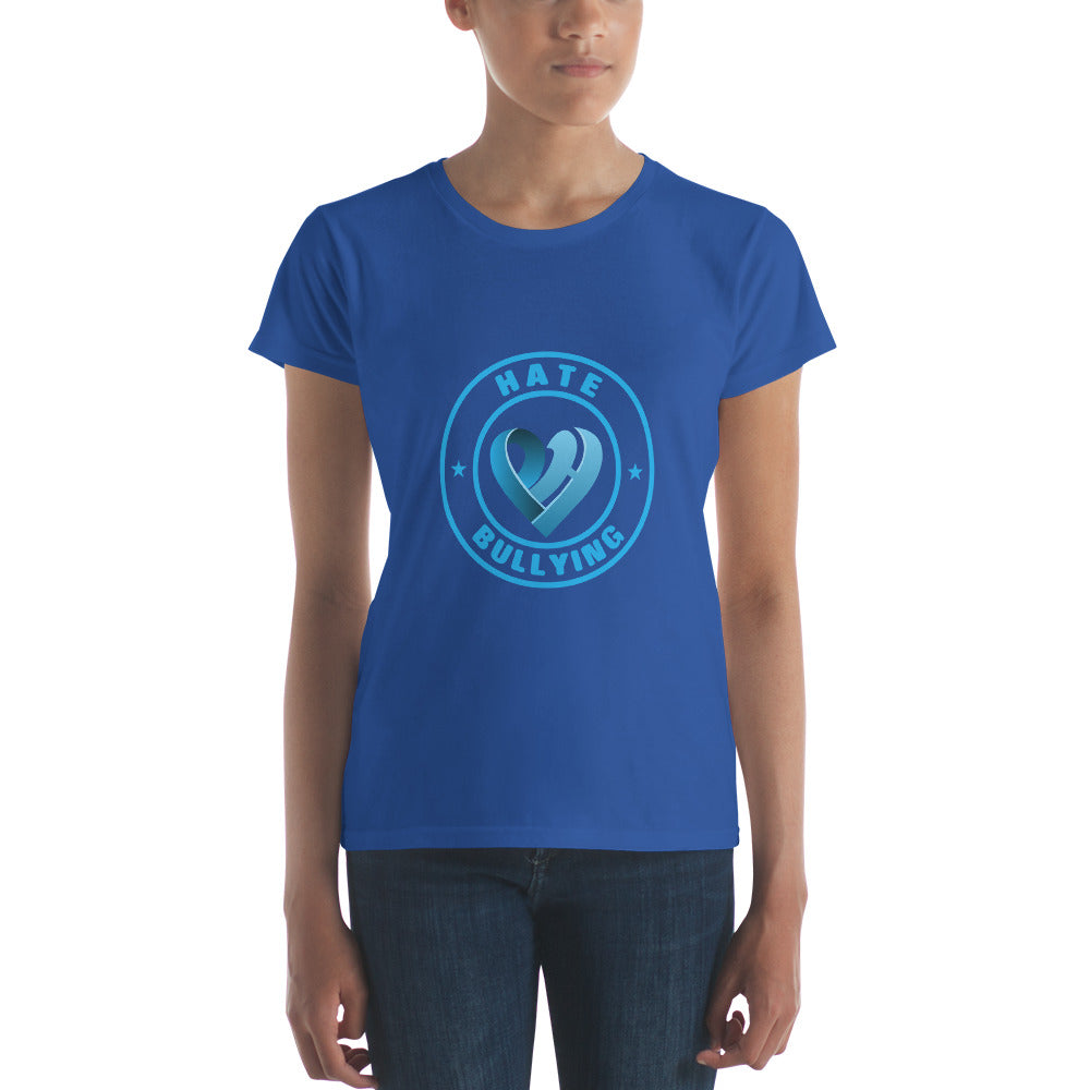 Positive Hate, Hate Bullying Blue Round Middle -  Women's short sleeve t-shirt
