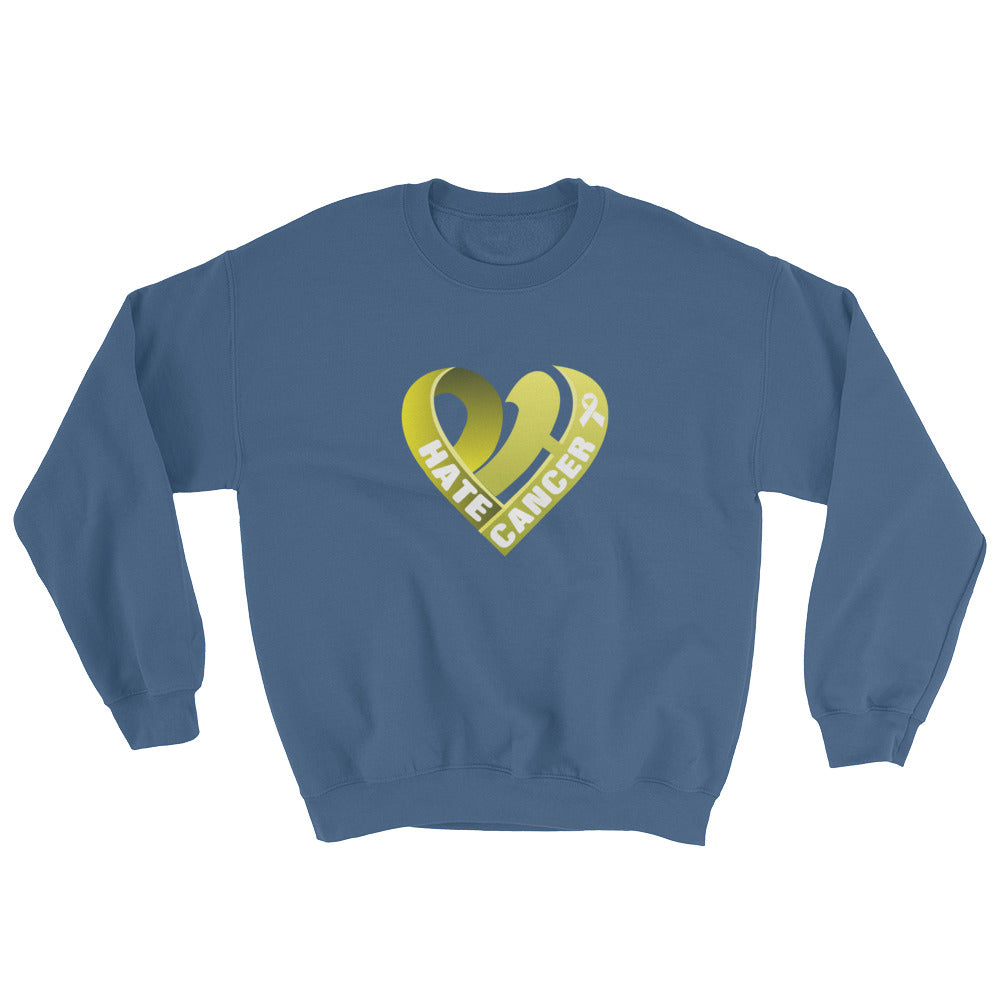 Positive Hate, Hate Cancer Yellow Heart Middle - Unisex Sweatshirts