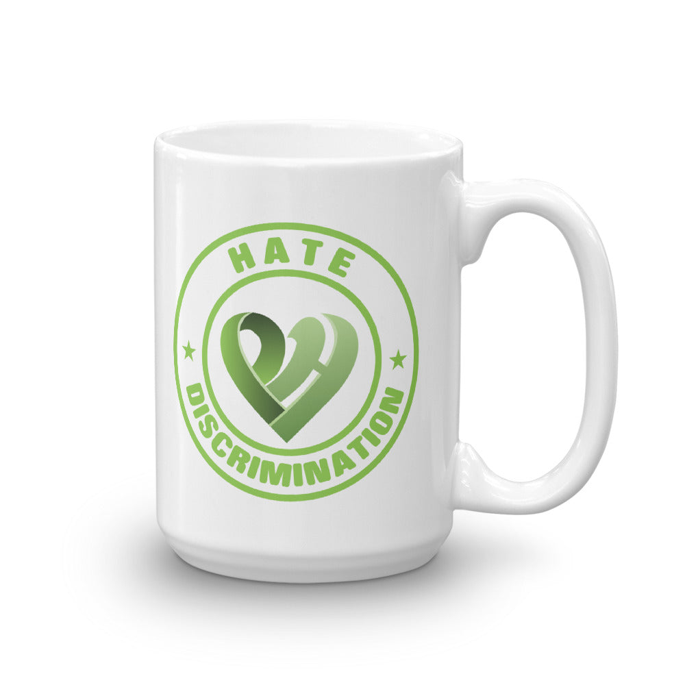 Positive Hate, Hate Discrimination Green Round - Glossy Mugs