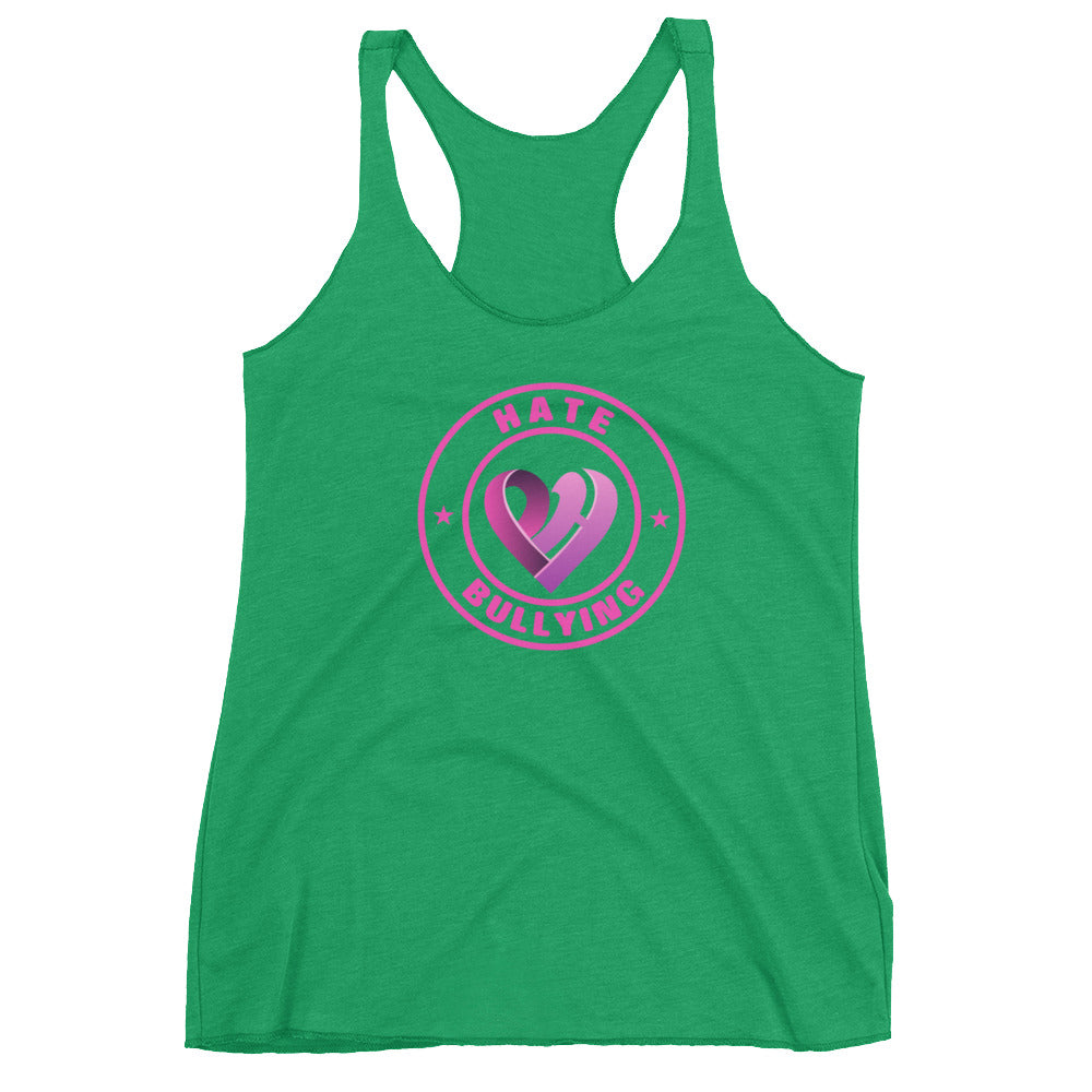 Positive Hate, Hate Bullying Pink Round Center - Women's Racerback Tank