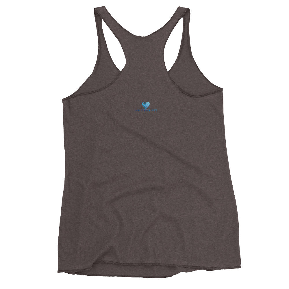Positive Hate, Hate Addiction Blue Round Center - Women's Racerback Tank