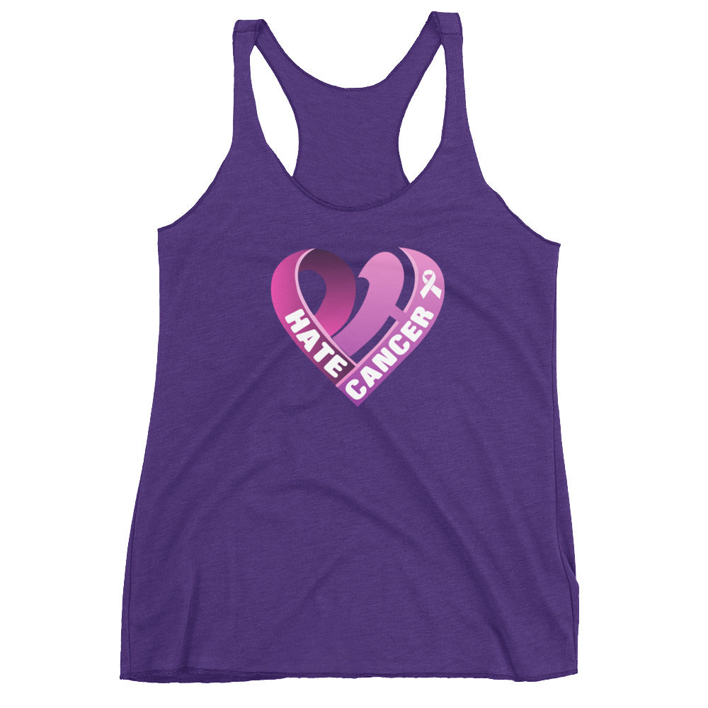Positive Hate, Hate Cancer Pink Heart Center - Women's Racerback Tank
