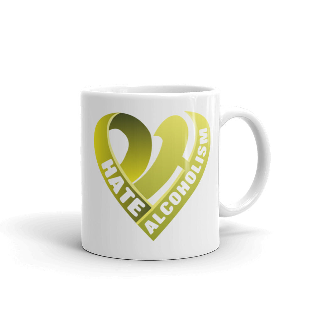 Positive Hate, Hate Alcoholism Yellow Heart - Mug