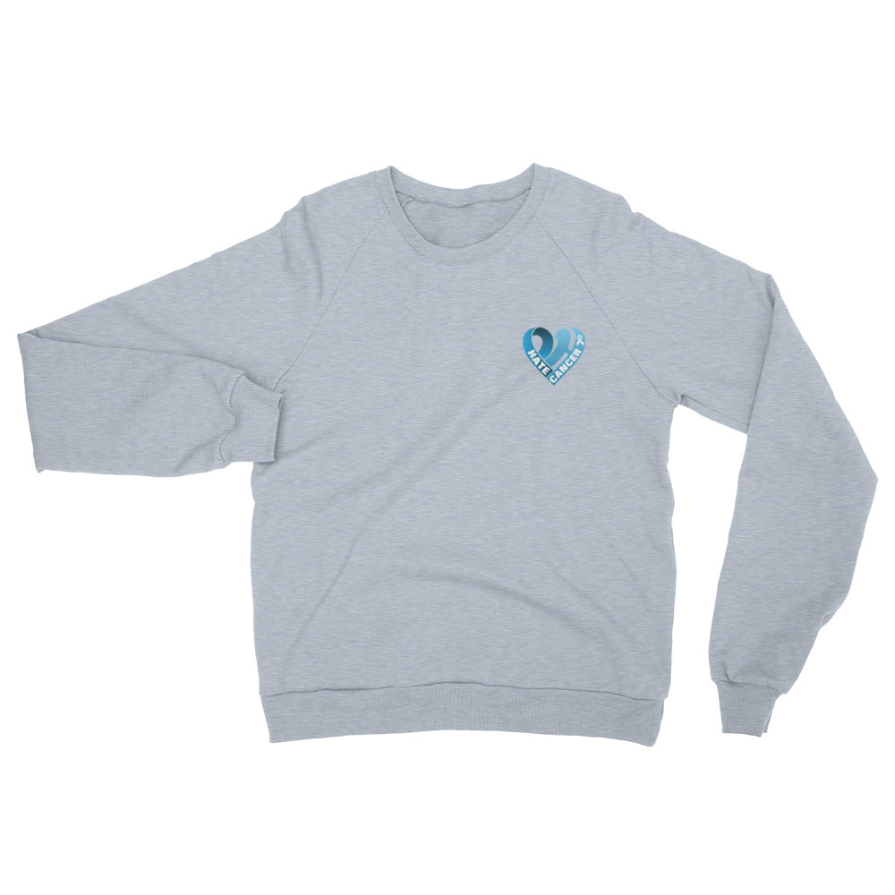 Positive Hate, Hate Cancer Blue Heart Side - Unisex California Fleece Raglan Sweatshirt