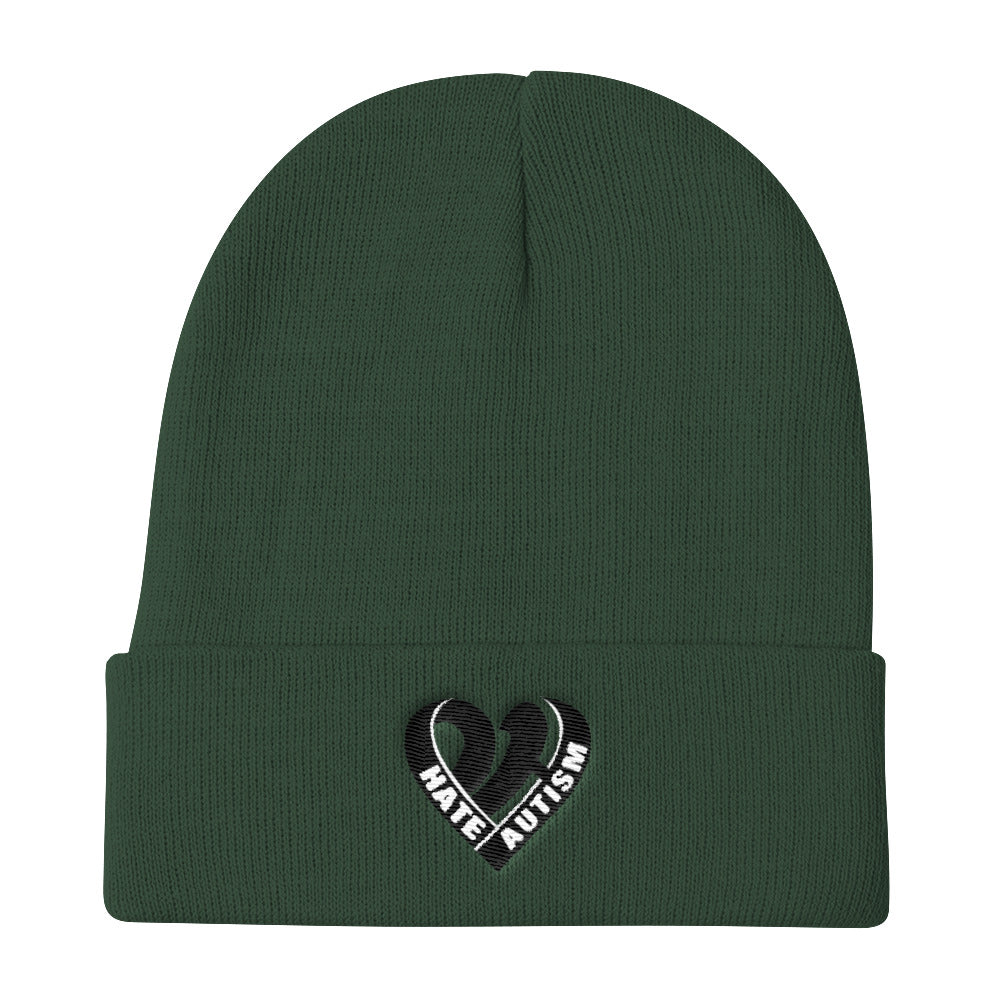 Positive Hate, Hate Autism Black Heart Middle - Knit Beanie