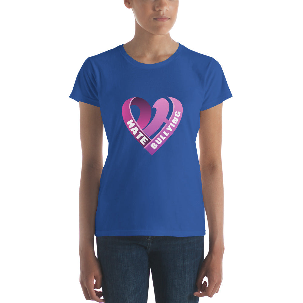 Positive Hate, Hate Bullying Pink Heart Middle -  Women's short sleeve t-shirt