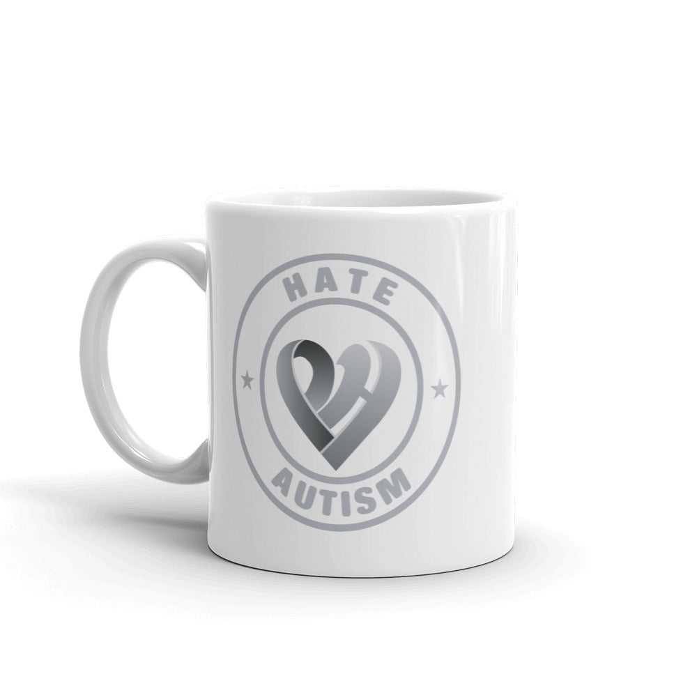 Positive Hate, Hate Autism Grey Round Side - Mugs