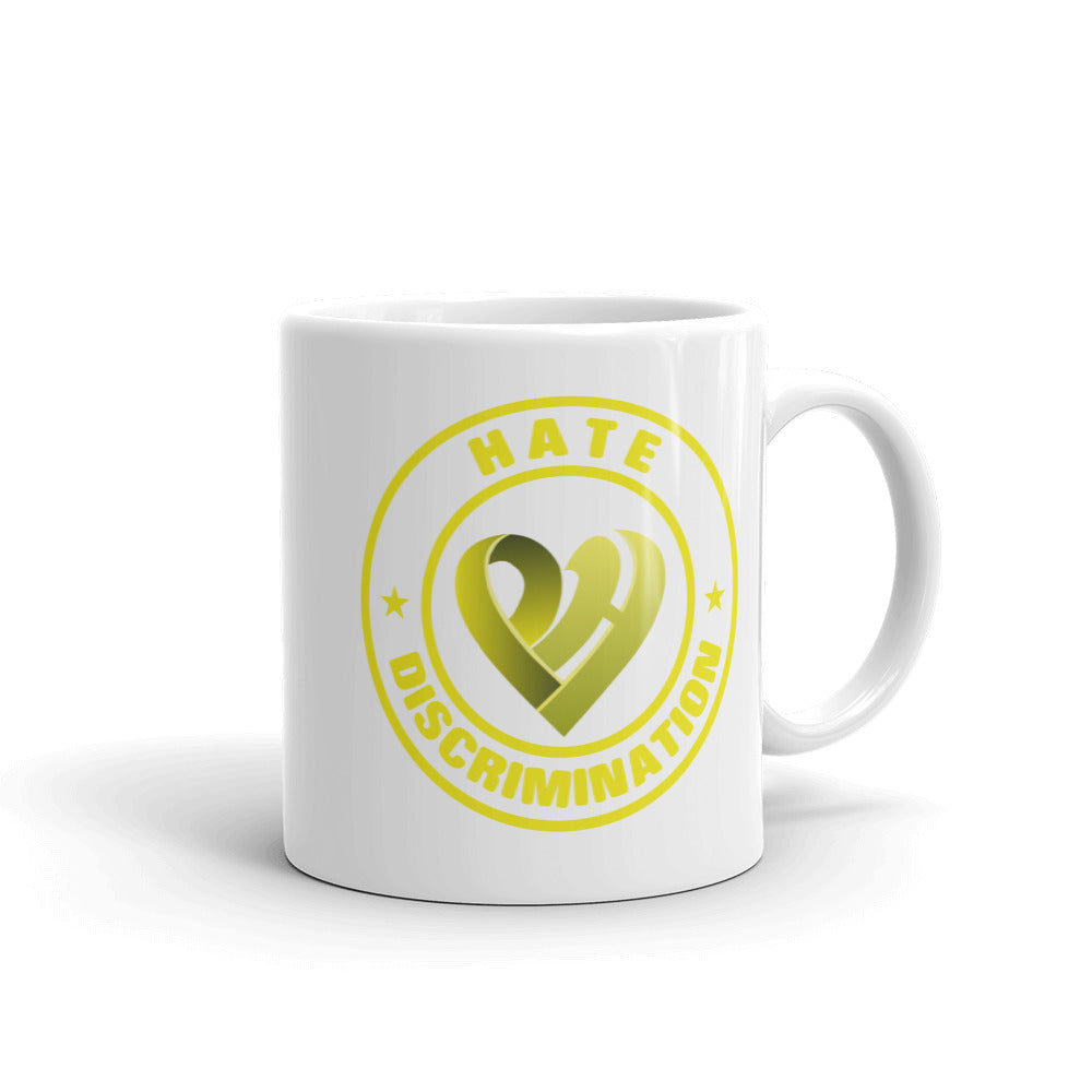 Positive Hate, Hate Discrimination Yellow Round - Glossy Mugs