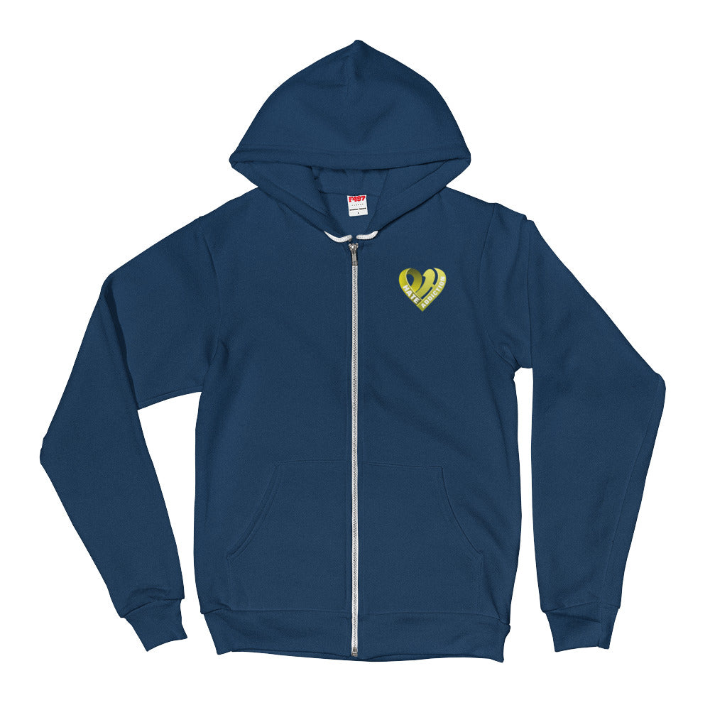 Positive Hate, Hate Addiction Yellow Heart Side - Full Zip Hoodie Sweater