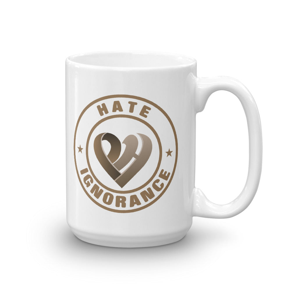 Positive Hate, Hate Ignorance Brown Round - Glossy Mugs