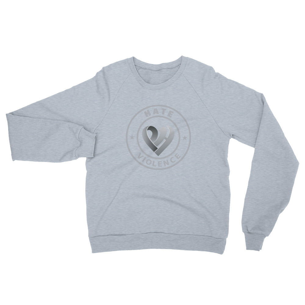 Positive Hate, Hate Violence Grey Round Middle - Unisex California Fleece Raglan Sweatshirt