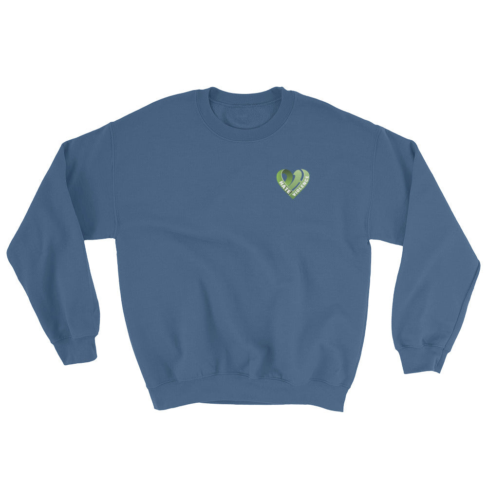 Positive Hate, Hate Violence Green Heart Side - Unisex Sweatshirts