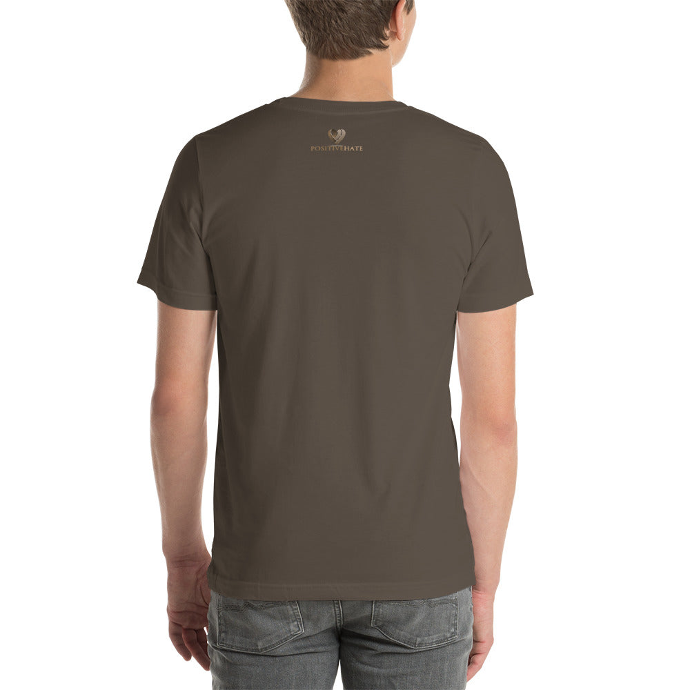 Positive Hate, Hate Addiction Brown Round Side - T-shirt