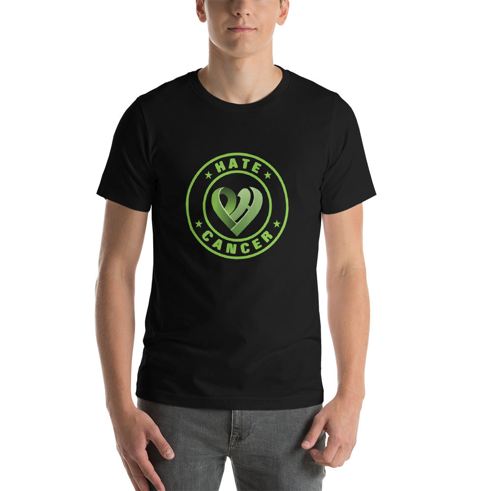 Positive Hate Cancer Green Circle v2 Center - T-shirt