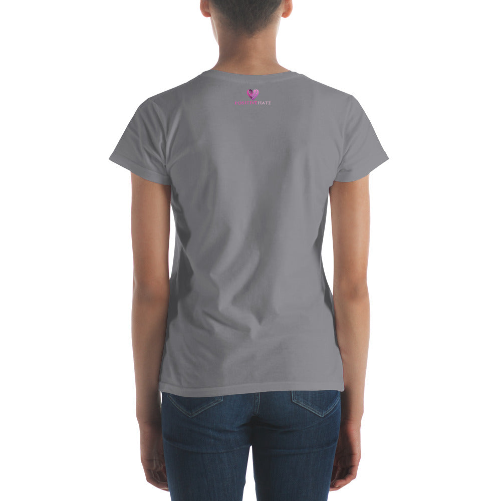 Positive Hate, Hate Infertility Pink Heart Middle -  Women's short sleeve t-shirt
