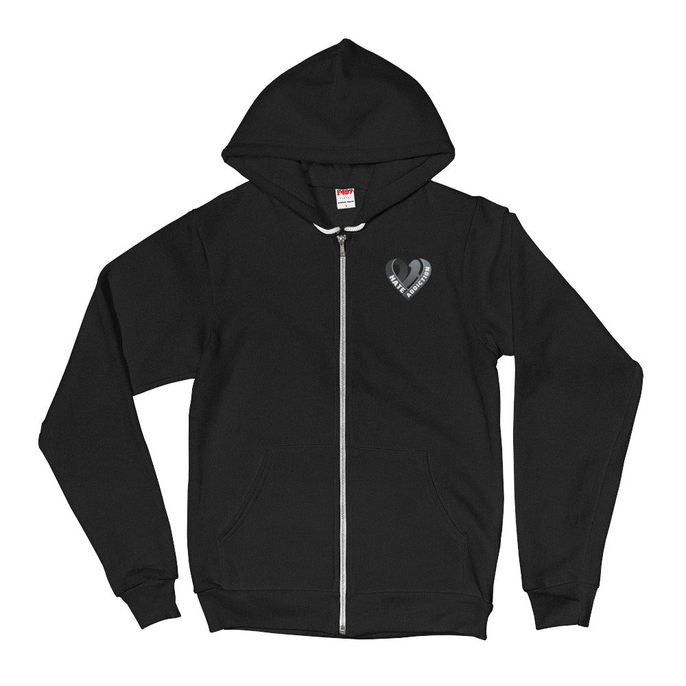 Positive Hate, Hate Addiction Black Heart Side - Full Zip Hoodie Sweater