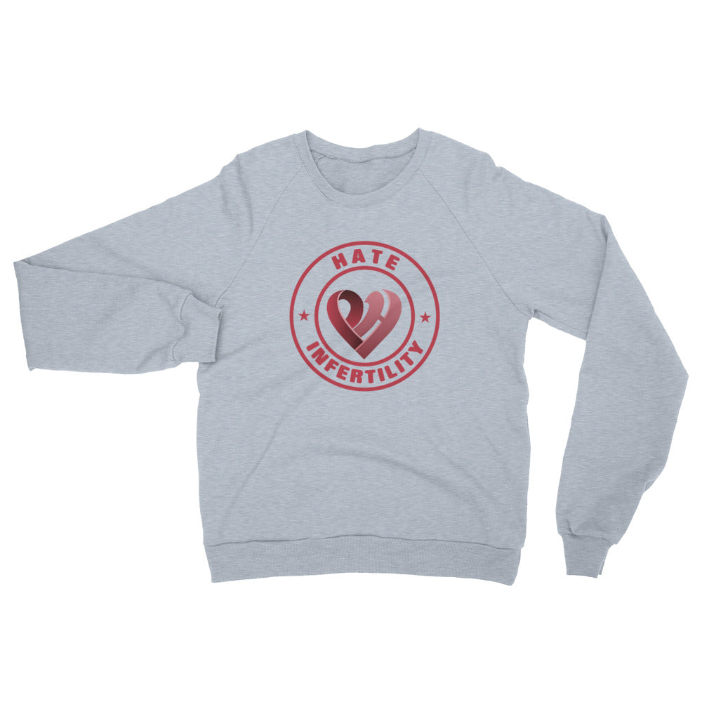 Positive Hate, Hate Infertility Red Round Middle - Unisex California Fleece Raglan Sweatshirt