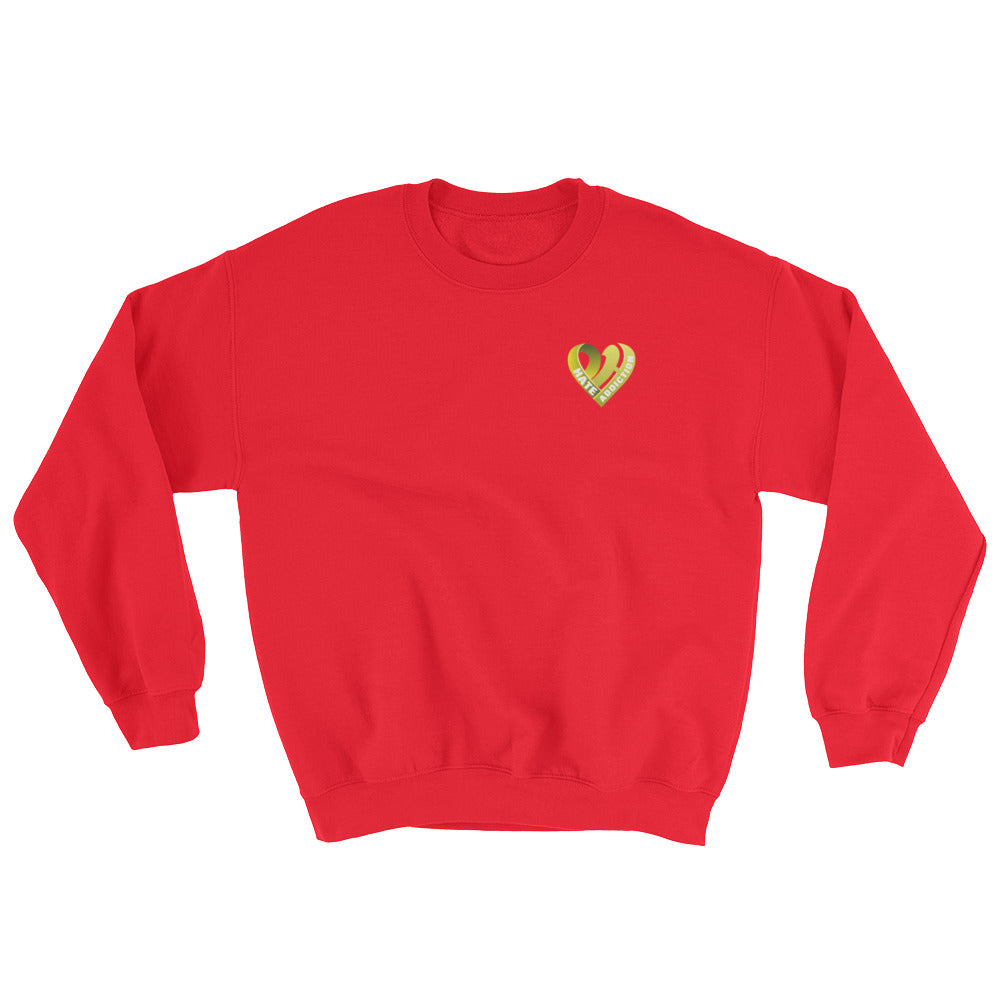 Positive Hate, Hate Addiction Yellow Heart Side - Unisex Sweatshirts