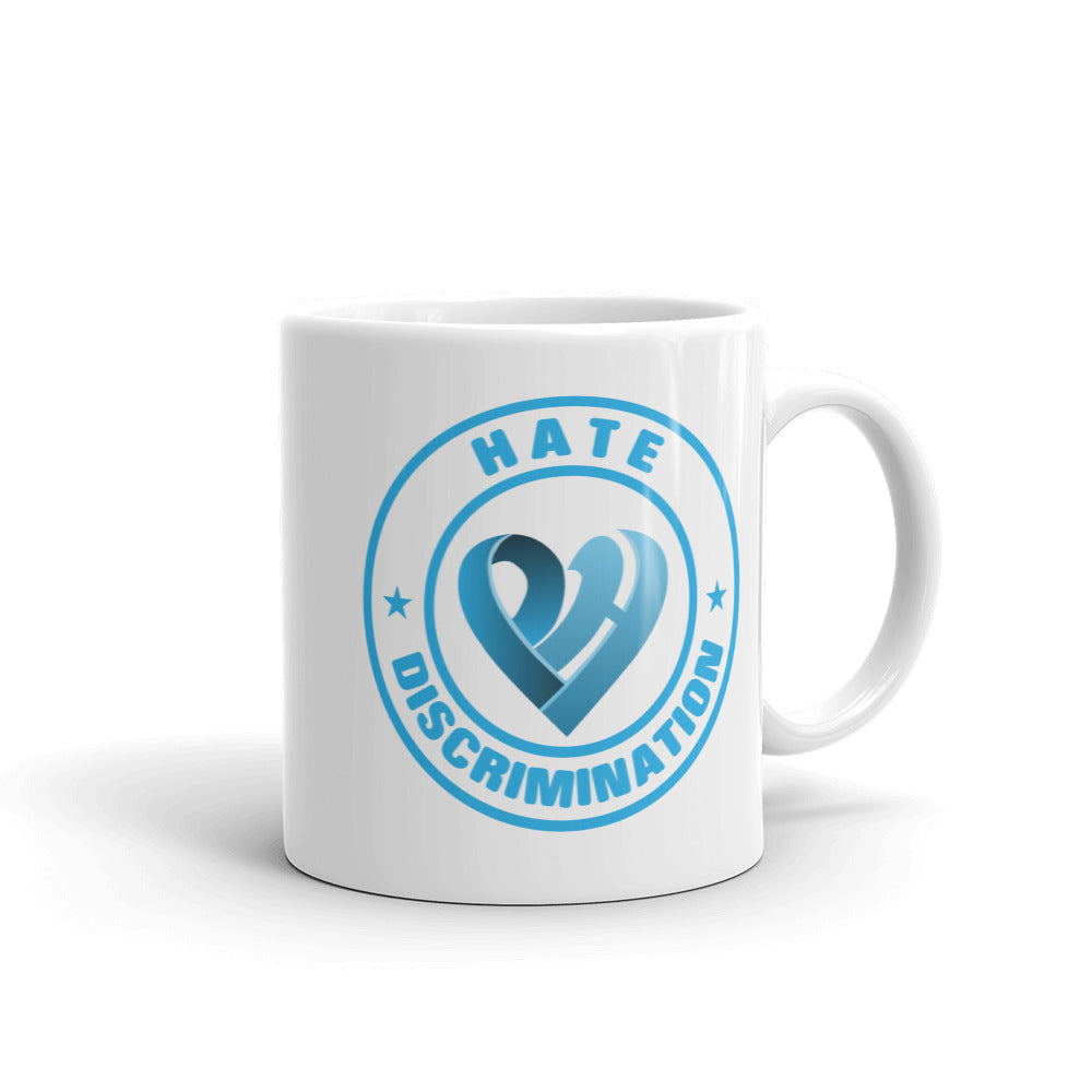 Positive Hate, Hate Discrimination Blue Round - Glossy Mugs