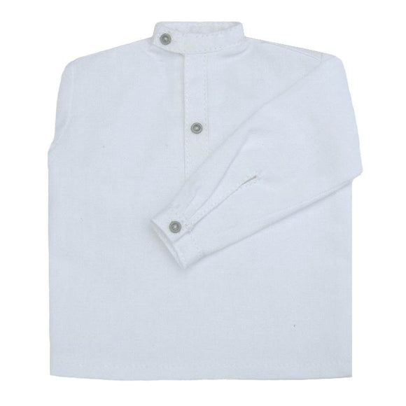 French - Shirt  (white w/wrap around band collar)