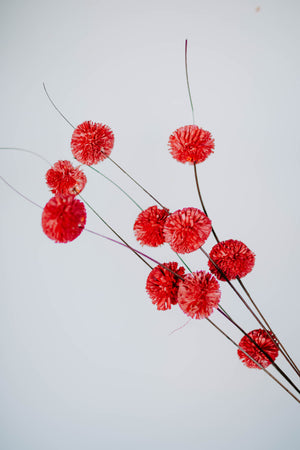 Red Blossom Drop Christmas Pick