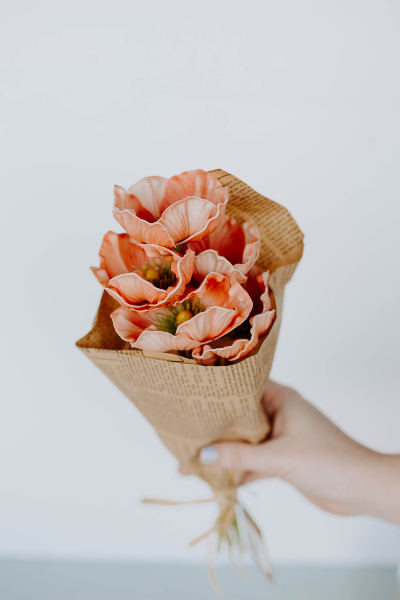 Coral Poppy Bundle In Paper