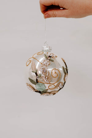 Glass Ball Ornament w/ Embroidered Flowers