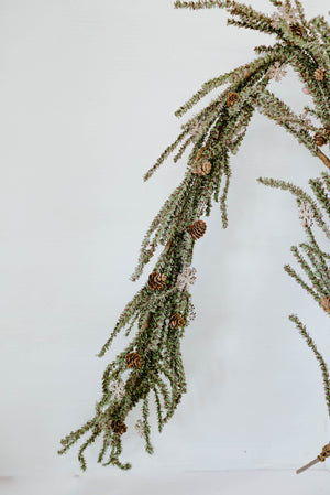 Greenery with Wooden Snowflakes Garland