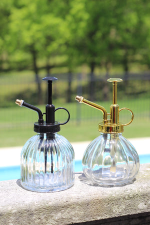 Johnny and June Misters | vintage-look glass misters available in black or gold.