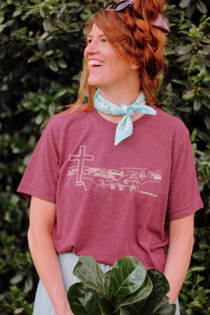 Fayetteville Views T-Shirt | burgundy Bella + Canvas unisex t-shirt with a line drawing of the view from Mt. Sequoyah, drawn by one of our girls on staff!