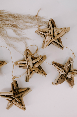 Wood Star Tree Garland