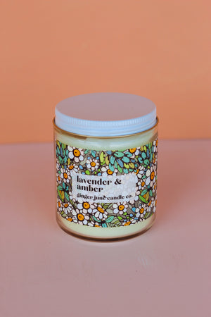 Ginger June Candle Co. - Lavender & Amber Candle, Classic Design