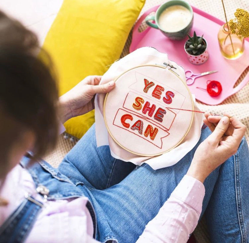 """Yes She Can"" Embroidery Hoop Kit"
