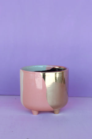 "4.8"" Tri-tone Blush Footed Planter"