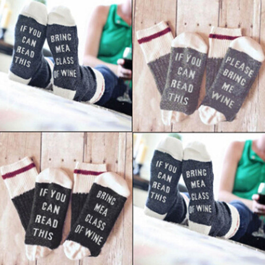 """If You Can Read This Bring Me A Glass Of Wine"" Socks"