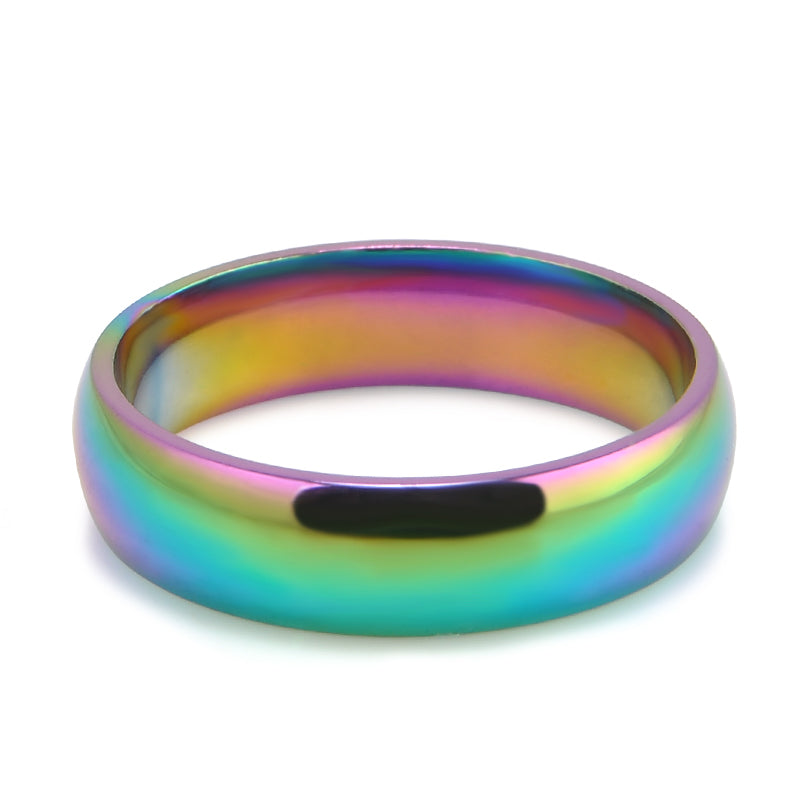 Lucky Rainbow Colorful Gay Pride Ring Stainless Steel Fashion Jewelry Sizes 6-10 Fashion Rings