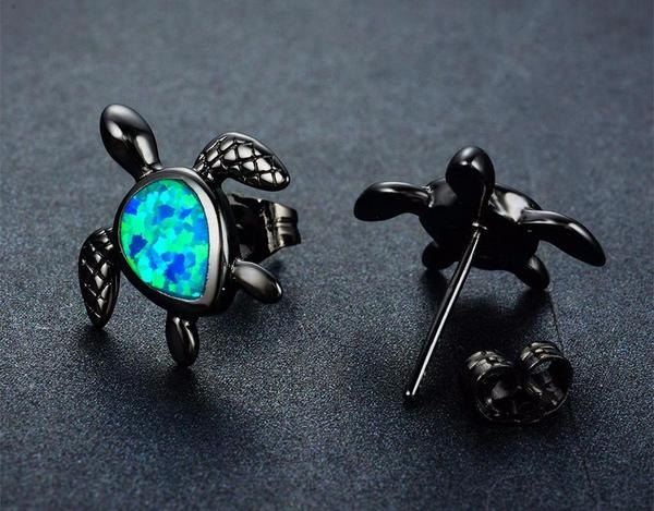 Blue Fire Opal Turtle Studs