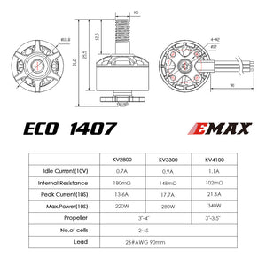 EMAX ECO MICRO SERIES 1407 2~4S 2800KV 3300KV 4100KV BRUSHLESS MOTOR FOR FPV RACING RC DRONE