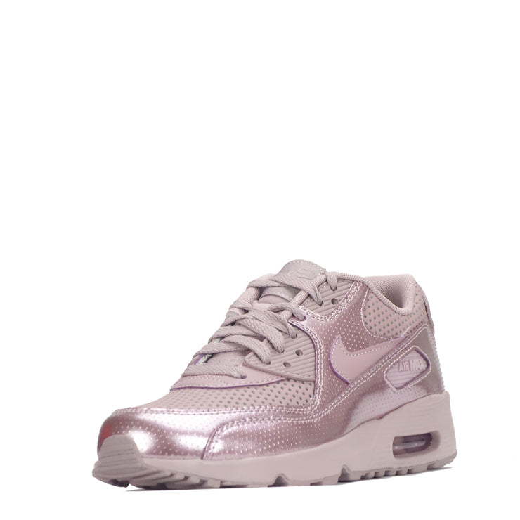 Nike Air Max 90 SE Leather Junior Trainers, Metallic Pink
