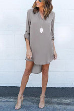 Grey Casual See-Through Chiffon V-Neck Curved Mini Dress