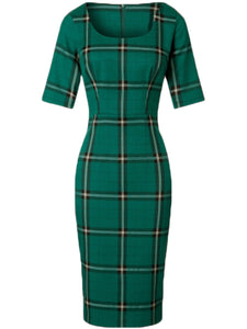 Vintage Plaid Round Neck Bodycon Dress