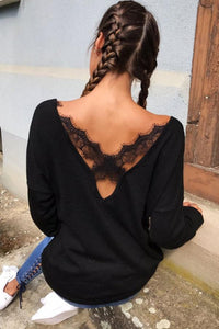 V Neck  Backless  Plain  Batwing Sleeve T-Shirts