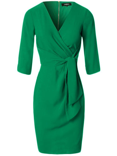 V-Neck Plain Tie-Front Bodycon Dress