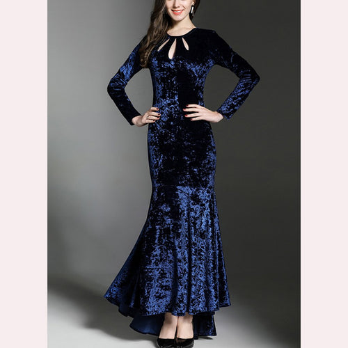 Velvet Fishtail Hollow Evening Dress