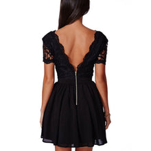 V-Neck Lace Halter Skater Dress