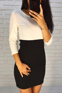 Round Neck  Color Block Patchwork Bodycon Dresses