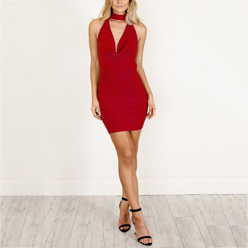 Sexy Hanging Neck Halter Evening Dress