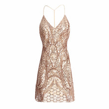 V-Collar Sequined Sexy Suspenders Evening Dress